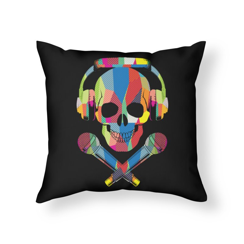 Retro Skull Home Throw Pillow by clingcling's Artist Shop