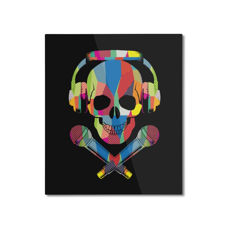 Retro Skull Home Mounted Aluminum Print by clingcling's Artist Shop
