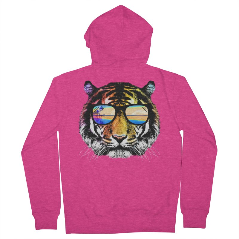 Summer Tiger Women's French Terry Zip-Up Hoody by clingcling's Artist Shop