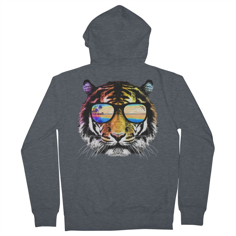 Summer Tiger Men's French Terry Zip-Up Hoody by clingcling's Artist Shop