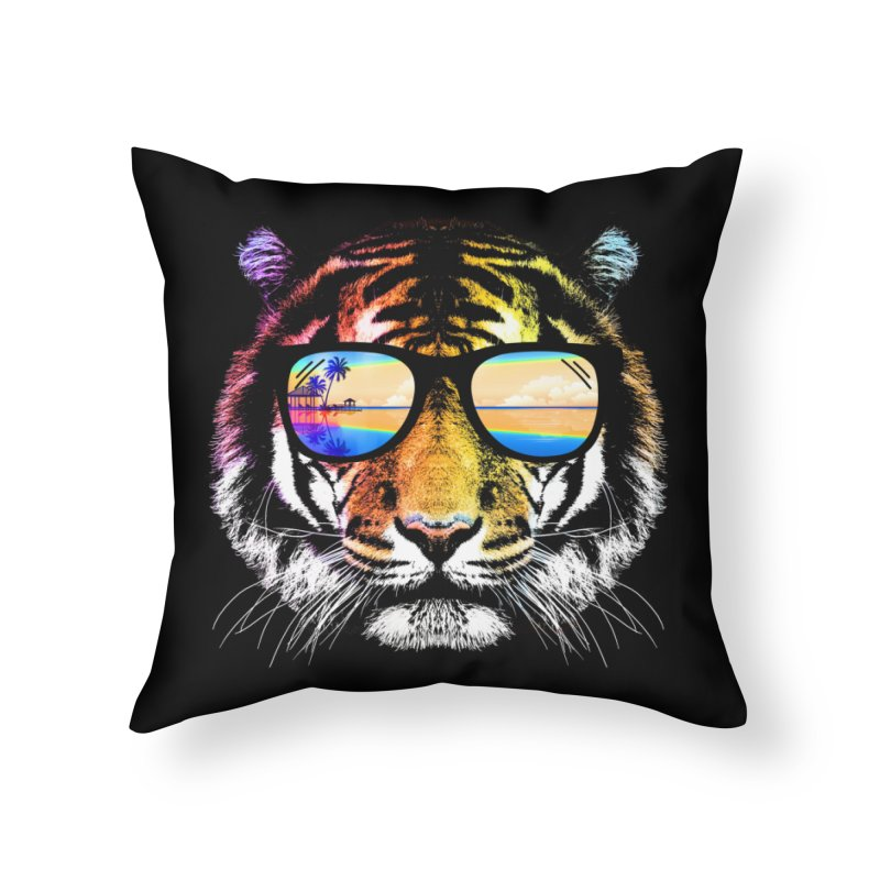 Summer Tiger Home Throw Pillow by clingcling's Artist Shop