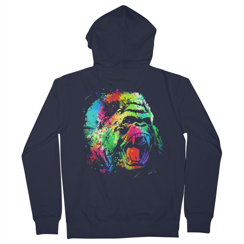 Dripping color Gorilla Women's French Terry Zip-Up Hoody by clingcling's Artist Shop