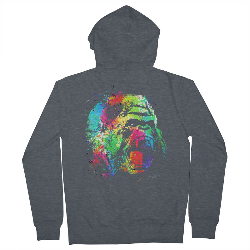 Dripping color Gorilla Men's French Terry Zip-Up Hoody by clingcling's Artist Shop
