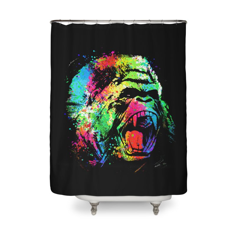 Dripping color Gorilla Home Shower Curtain by clingcling's Artist Shop
