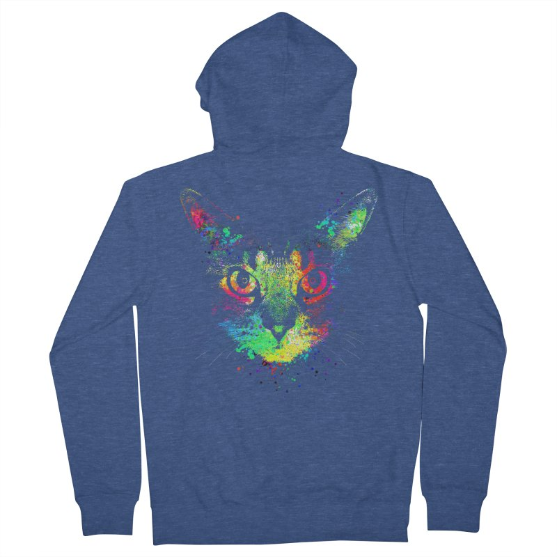 Dripping colorful kitten Women's French Terry Zip-Up Hoody by clingcling's Artist Shop