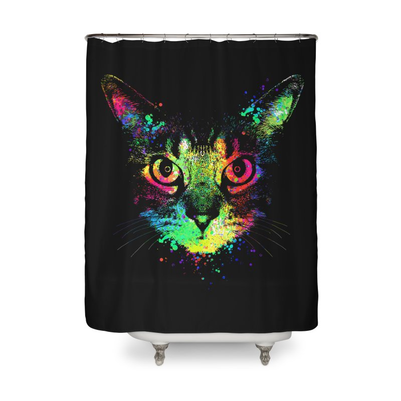 Dripping colorful kitten Home Shower Curtain by clingcling's Artist Shop