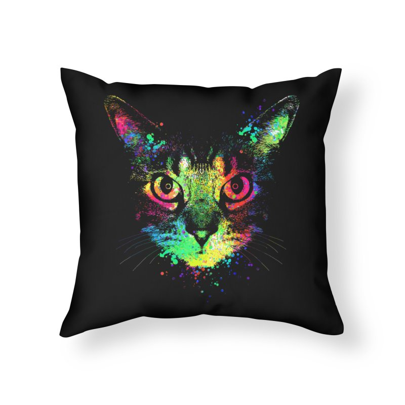 Dripping colorful kitten Home Throw Pillow by clingcling's Artist Shop