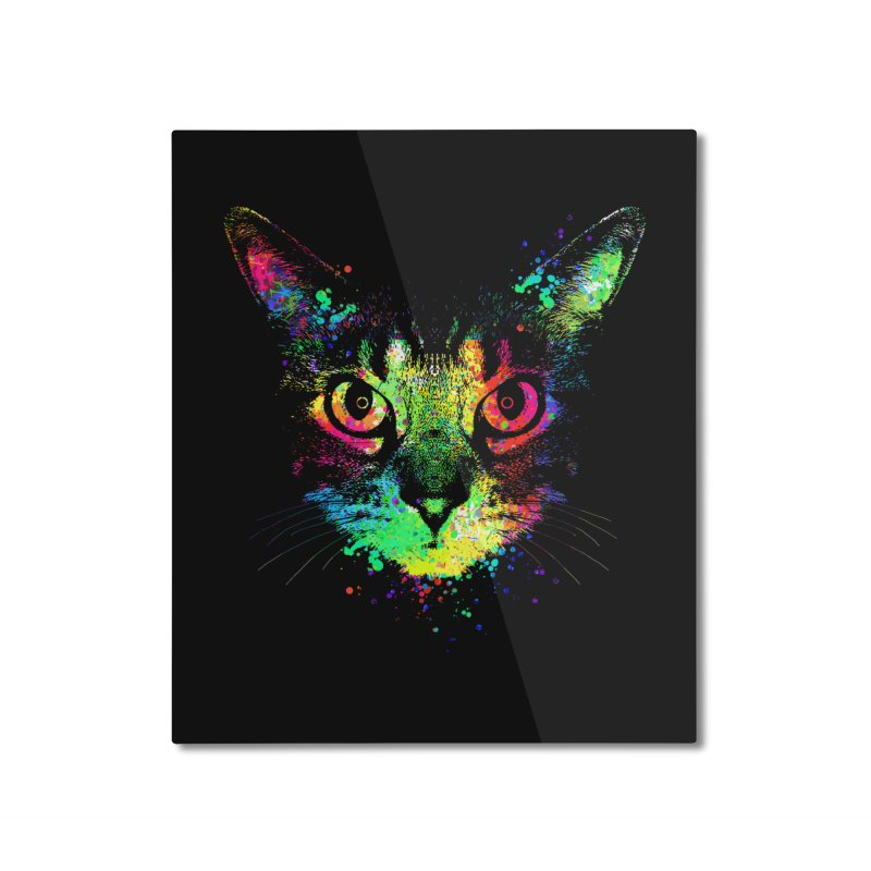 Dripping colorful kitten Home Mounted Aluminum Print by clingcling's Artist Shop