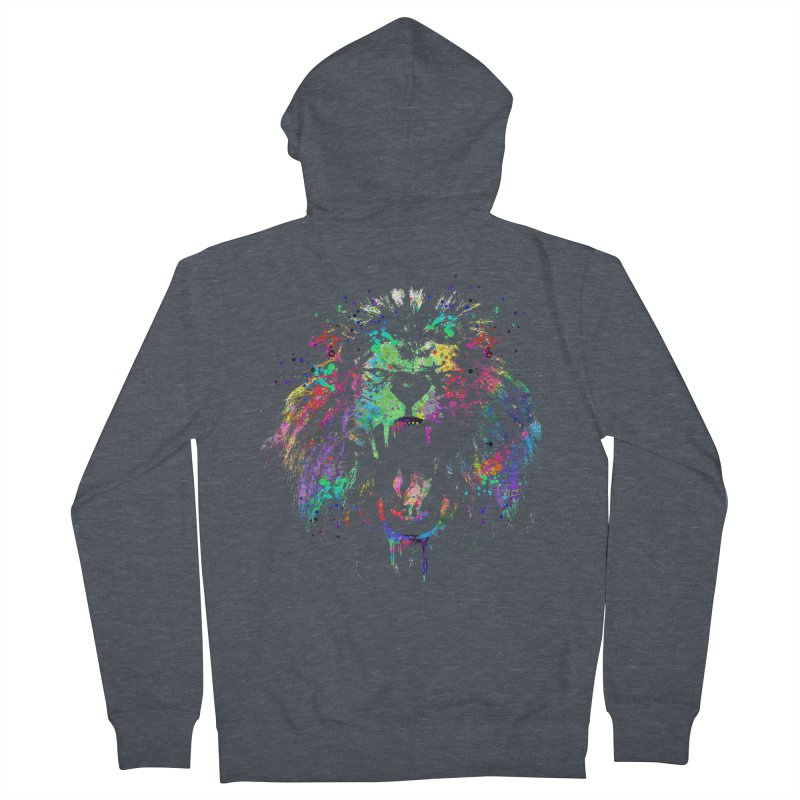 Dripping color lion Men's French Terry Zip-Up Hoody by clingcling's Artist Shop