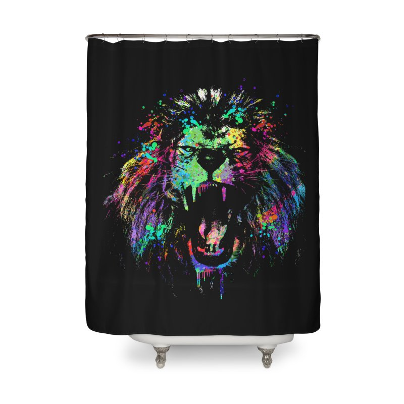 Dripping color lion Home Shower Curtain by clingcling's Artist Shop