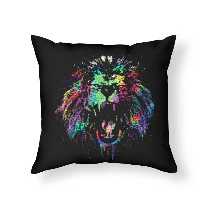 Dripping color lion Home Throw Pillow by clingcling's Artist Shop