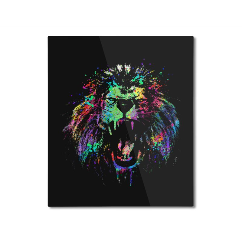 Dripping color lion Home Mounted Aluminum Print by clingcling's Artist Shop