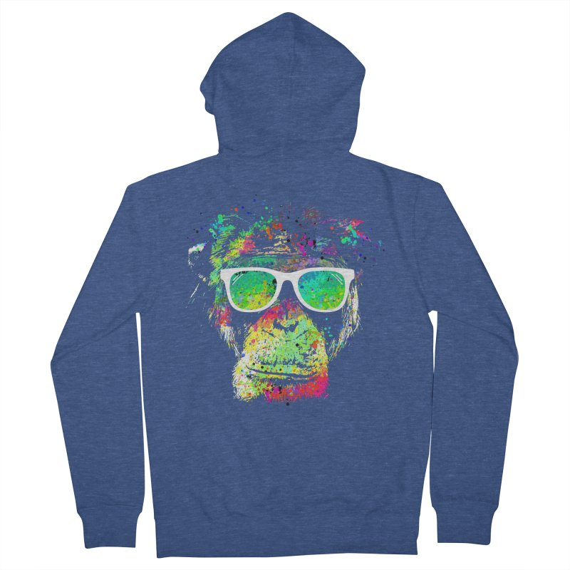 Dripping color monkey Women's French Terry Zip-Up Hoody by clingcling's Artist Shop