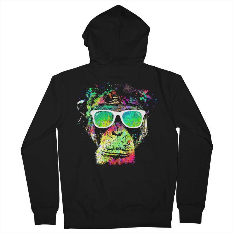 Dripping color monkey Men's French Terry Zip-Up Hoody by clingcling's Artist Shop