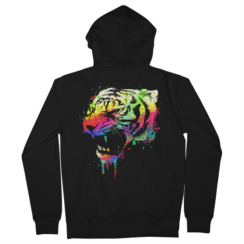 Dripping color tiger Women's French Terry Zip-Up Hoody by clingcling's Artist Shop