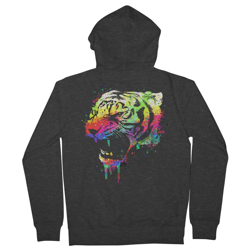 Dripping color tiger Men's French Terry Zip-Up Hoody by clingcling's Artist Shop