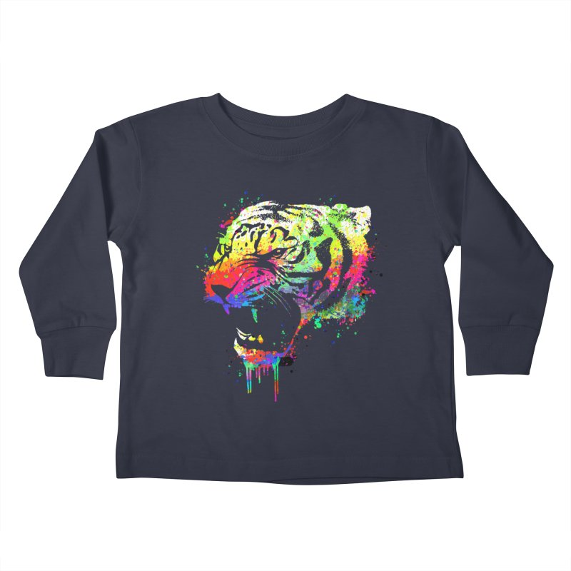 Dripping color tiger Kids Toddler Longsleeve T-Shirt by clingcling's Artist Shop