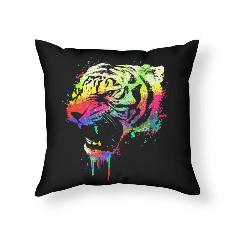Dripping color tiger Home Throw Pillow by clingcling's Artist Shop