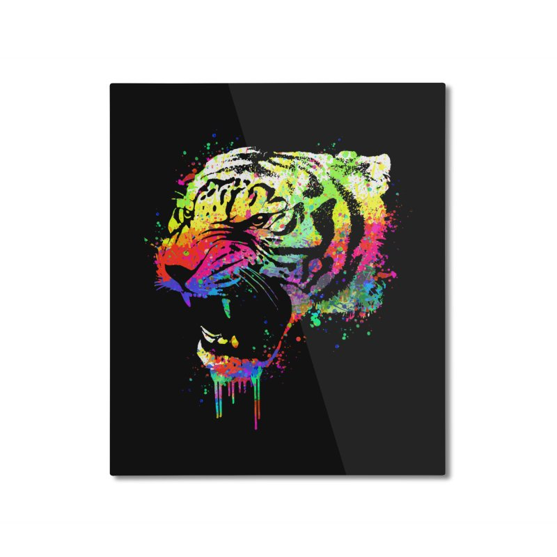 Dripping color tiger Home Mounted Aluminum Print by clingcling's Artist Shop