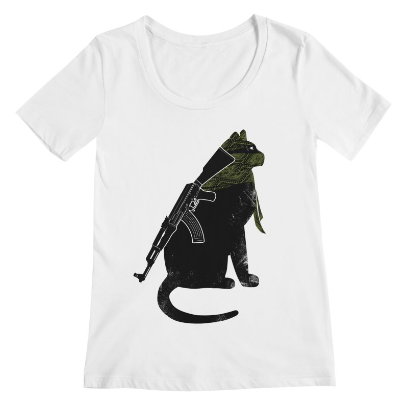 Terrorist Cat Women's Regular Scoop Neck by clingcling's Artist Shop