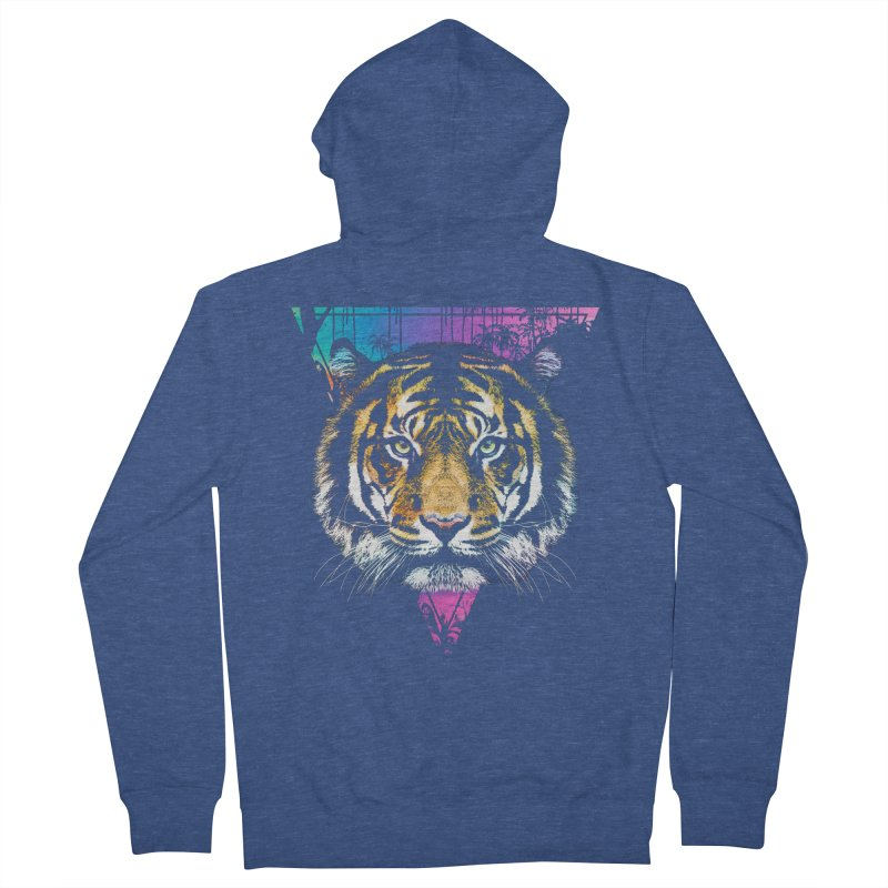 Tiger Men's French Terry Zip-Up Hoody by clingcling's Artist Shop