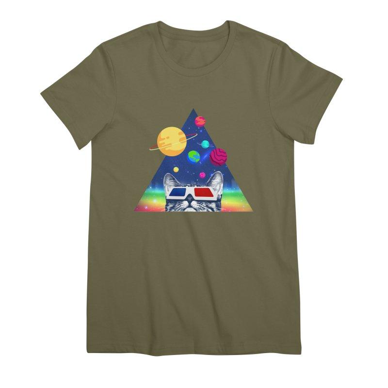 3D Cat Women's Premium T-Shirt by clingcling's Artist Shop