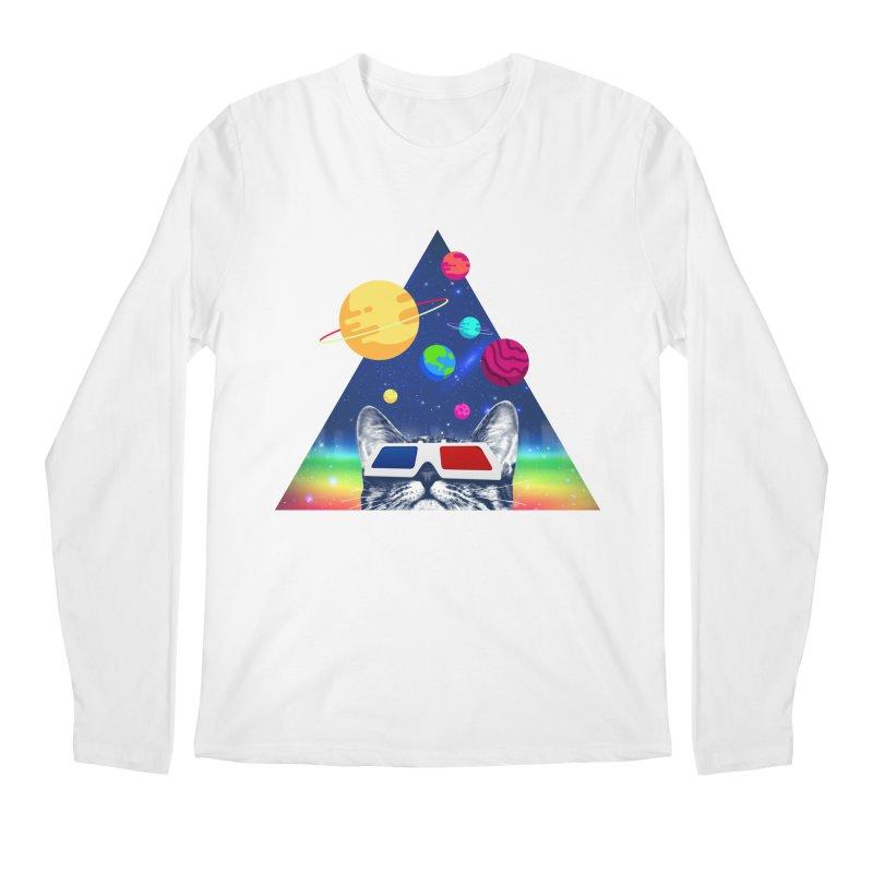 3D Cat Men's Regular Longsleeve T-Shirt by clingcling's Artist Shop