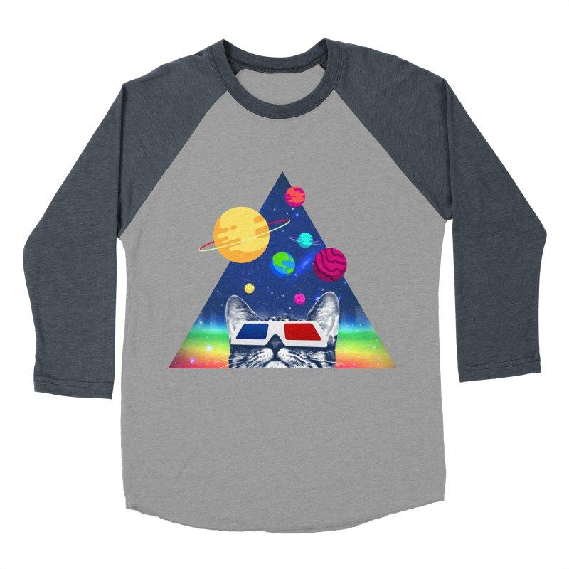 3D Cat Women's Baseball Triblend Longsleeve T-Shirt by clingcling's Artist Shop