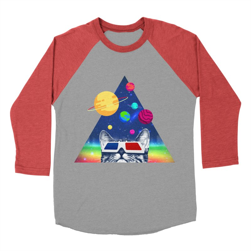 3D Cat Men's Baseball Triblend Longsleeve T-Shirt by clingcling's Artist Shop