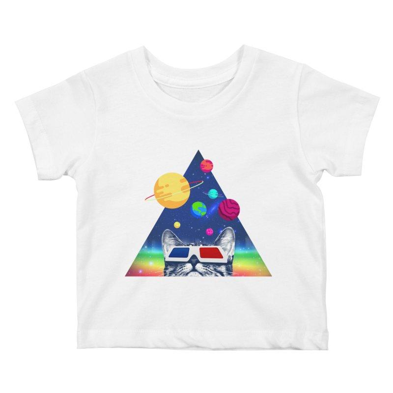 3D Cat Kids Baby T-Shirt by clingcling's Artist Shop