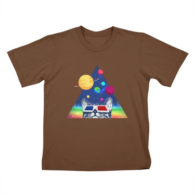 3D Cat Kids T-Shirt by clingcling's Artist Shop