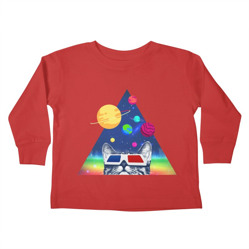 3D Cat Kids Toddler Longsleeve T-Shirt by clingcling's Artist Shop