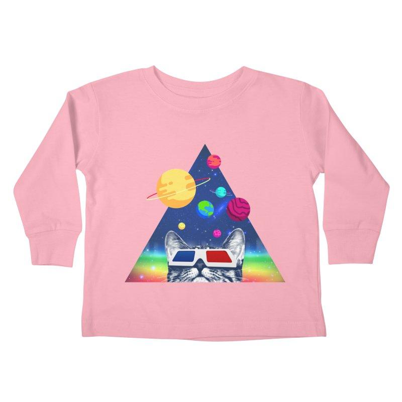 3D Cat Kids Toddler Longsleeve T-Shirt by clingcling's Artist Shop