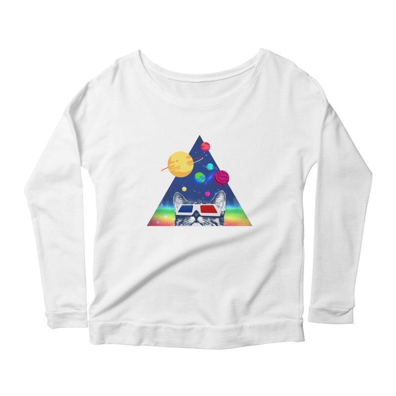 3D Cat Women's Scoop Neck Longsleeve T-Shirt by clingcling's Artist Shop