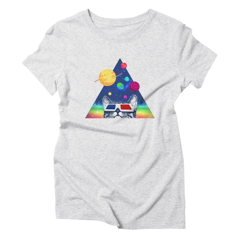 3D Cat Women's Triblend T-Shirt by clingcling's Artist Shop