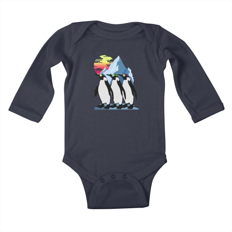 Cool Penguin Kids Baby Longsleeve Bodysuit by clingcling's Artist Shop
