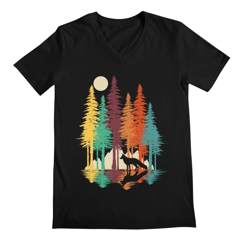 Forest Fox Men's Regular V-Neck by clingcling's Artist Shop