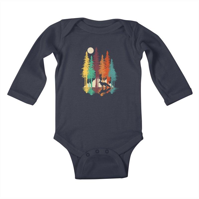 Forest Fox Kids Baby Longsleeve Bodysuit by clingcling's Artist Shop
