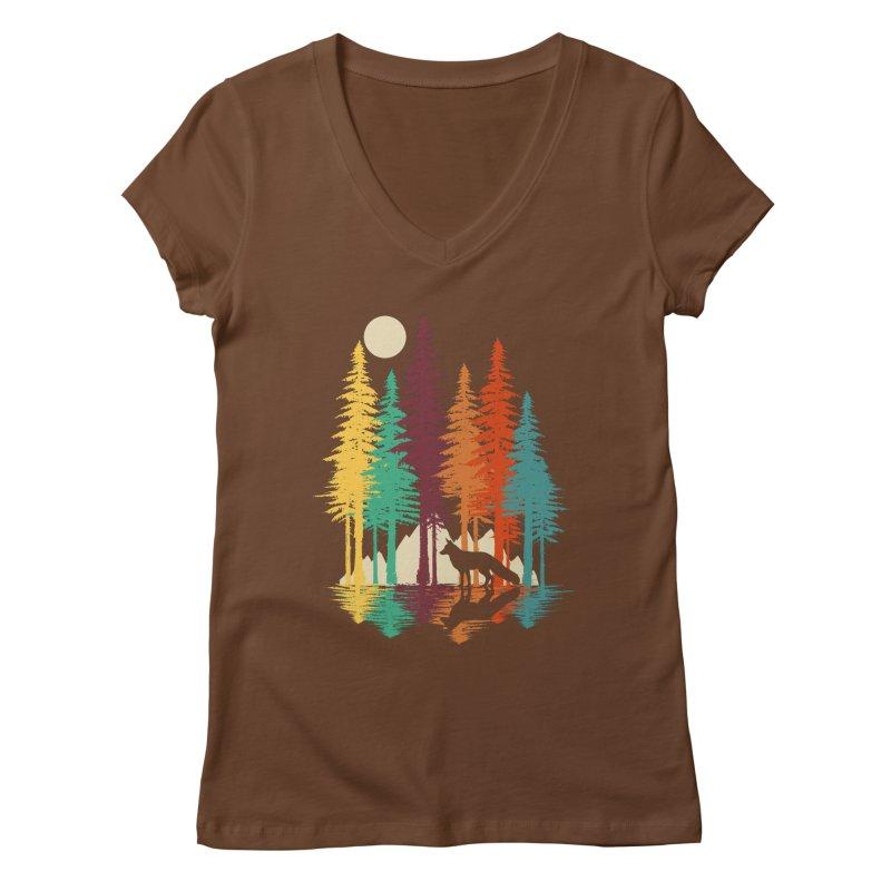 Forest Fox Women's Regular V-Neck by clingcling's Artist Shop