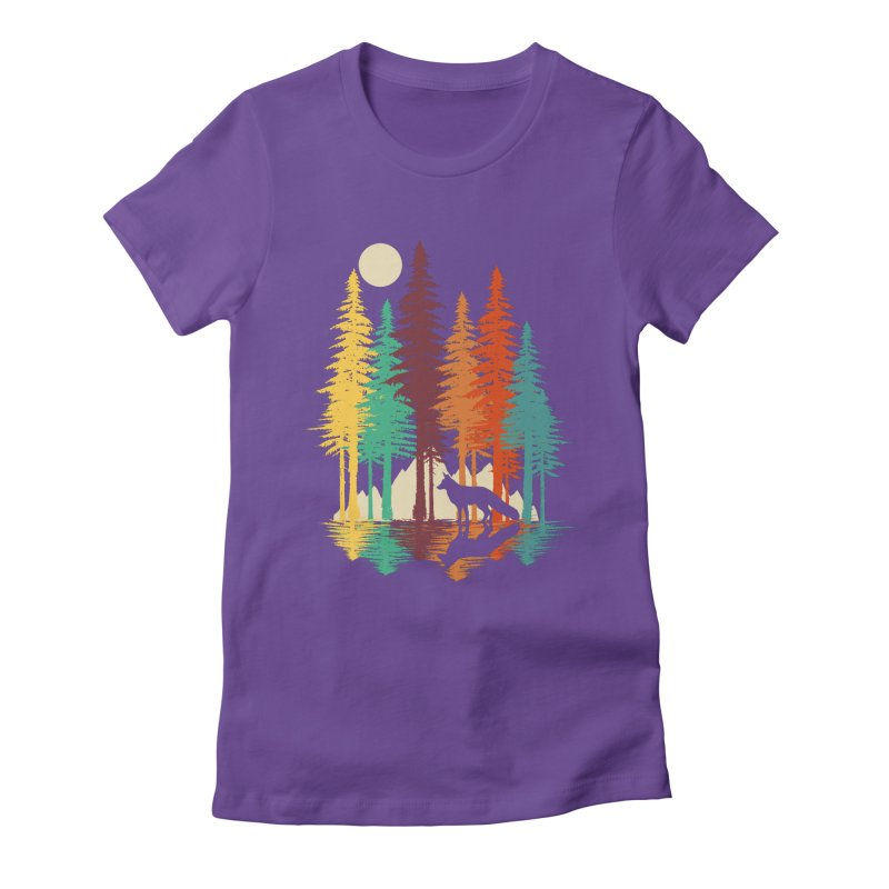 Forest Fox Women's Fitted T-Shirt by clingcling's Artist Shop