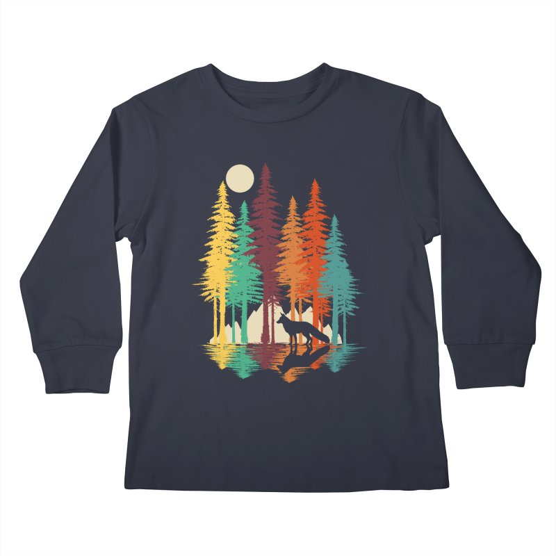 Forest Fox Kids Longsleeve T-Shirt by clingcling's Artist Shop