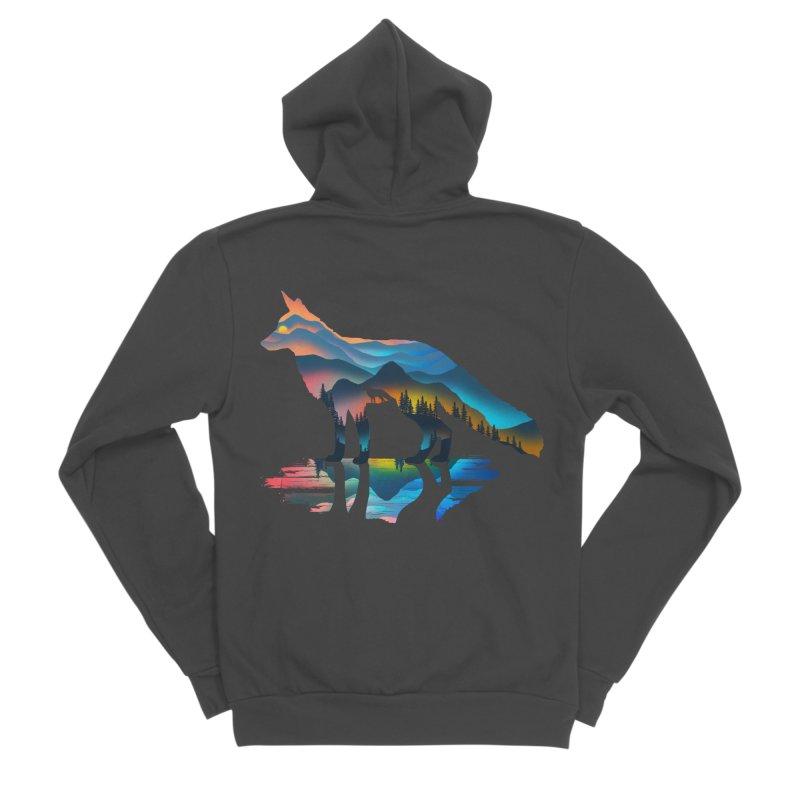 Mountain Fox Men's Sponge Fleece Zip-Up Hoody by clingcling's Artist Shop