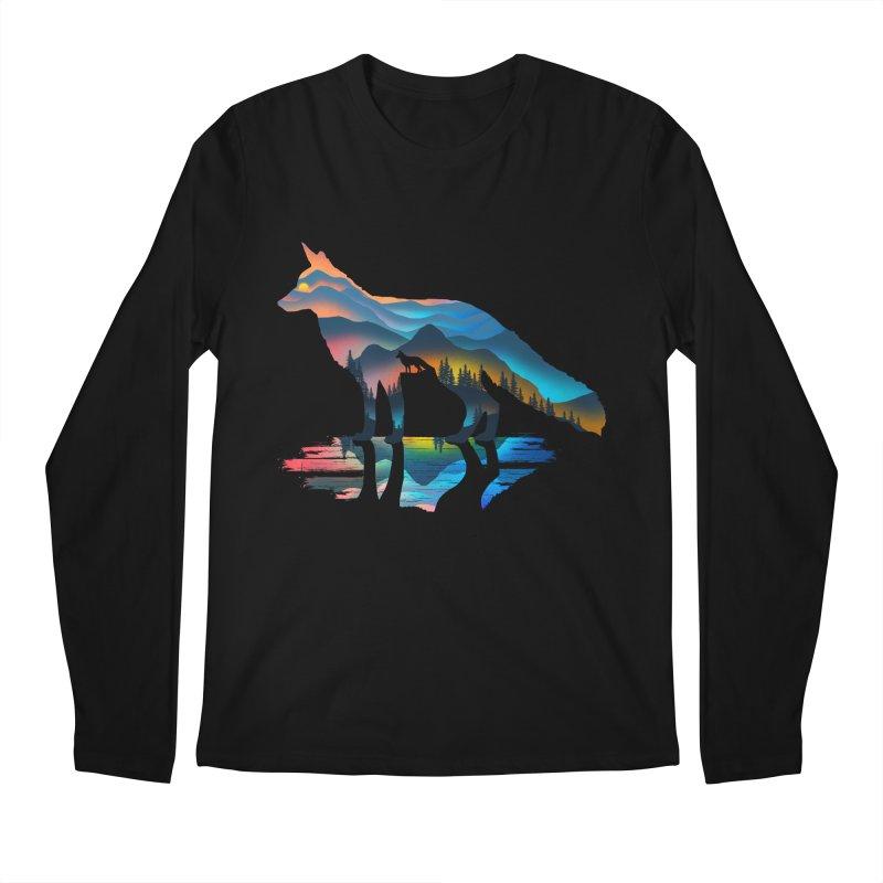 Mountain Fox Men's Regular Longsleeve T-Shirt by clingcling's Artist Shop