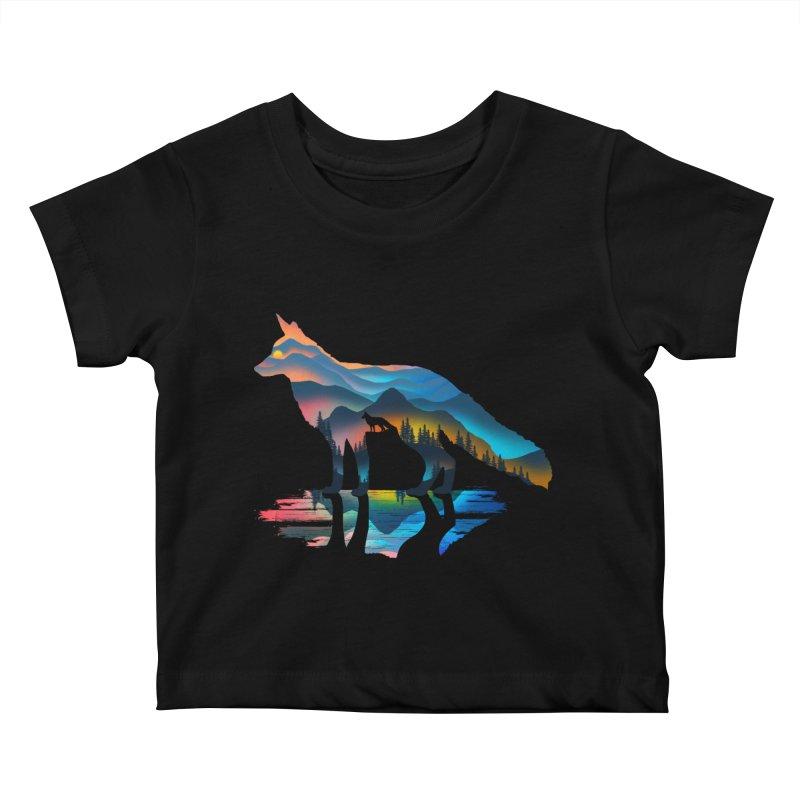 Mountain Fox Kids Baby T-Shirt by clingcling's Artist Shop