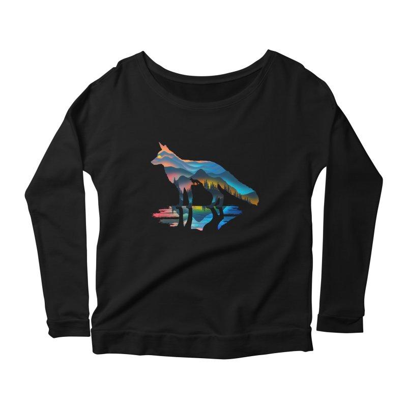 Mountain Fox Women's Scoop Neck Longsleeve T-Shirt by clingcling's Artist Shop