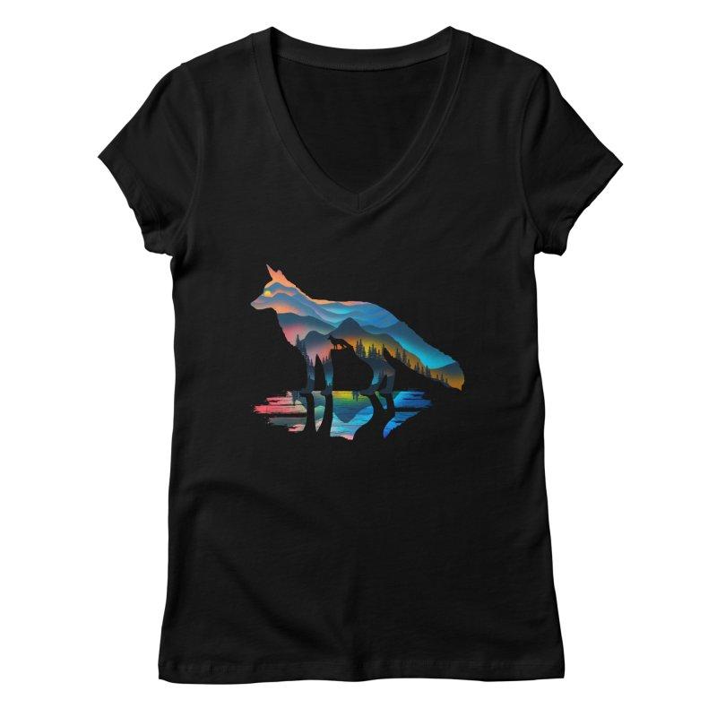 Mountain Fox Women's Regular V-Neck by clingcling's Artist Shop