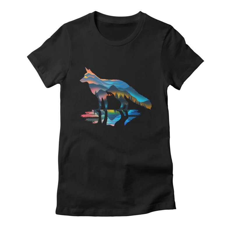 Mountain Fox Women's Fitted T-Shirt by clingcling's Artist Shop