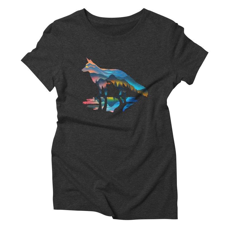 Mountain Fox Women's Triblend T-Shirt by clingcling's Artist Shop
