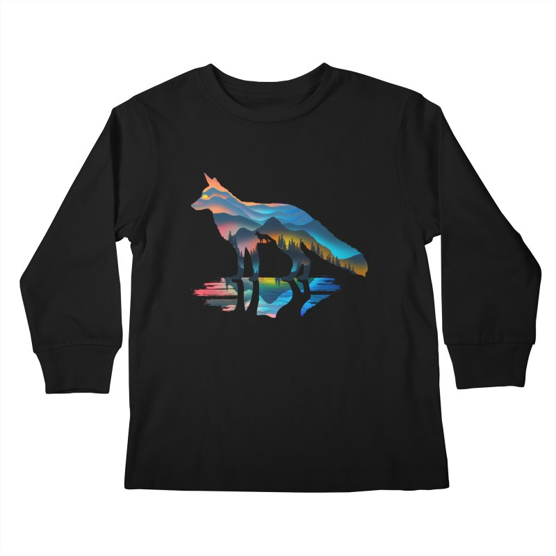 Mountain Fox Kids Longsleeve T-Shirt by clingcling's Artist Shop