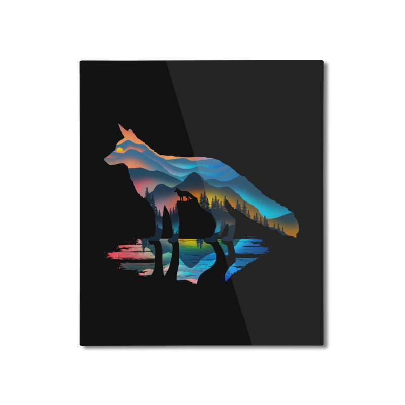 Mountain Fox Home Mounted Aluminum Print by clingcling's Artist Shop
